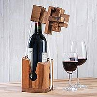 Wood puzzle, 'Don't Break It' - Handmade Rain Tree Wood Bottle Puzzle from Thailand