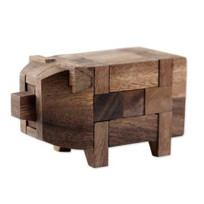 Wood puzzle, 'Piggy Puzzle' - Rain Tree Wood Pig Puzzle from Thailand