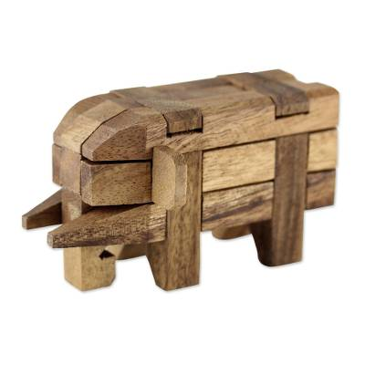 Wood puzzle, 'Elephant Puzzle' - Rain Tree Wood Elephant Puzzle from Thailand