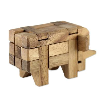 Rain Tree Wood Elephant Puzzle From Thailand Elephant Puzzle
