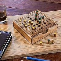 Wood game, 'Strategy Square' - Hand Made Wood Pegs Board Game from Thailand