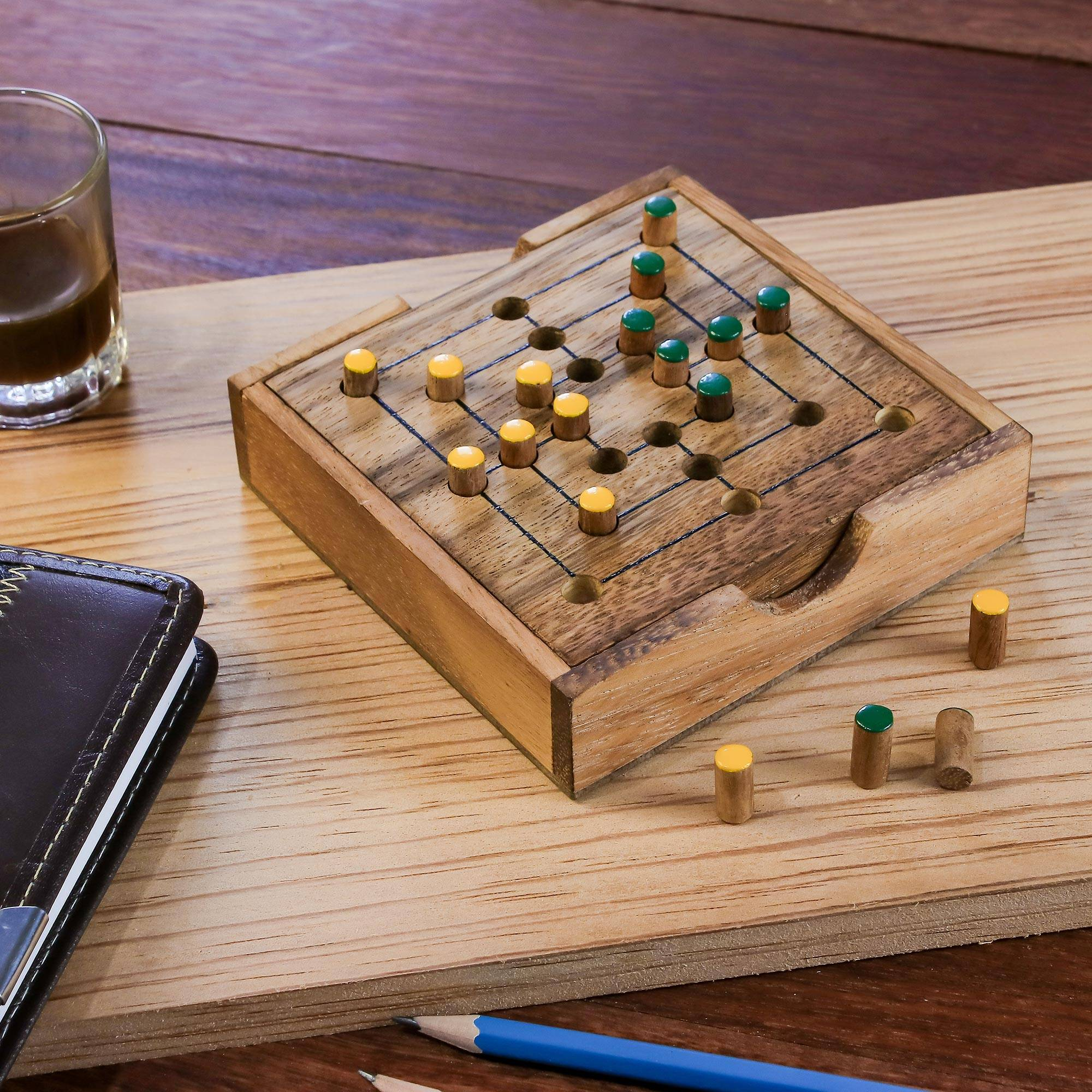 Hand Made Wood Pegs Board Game From Thailand Strategy Square Novica
