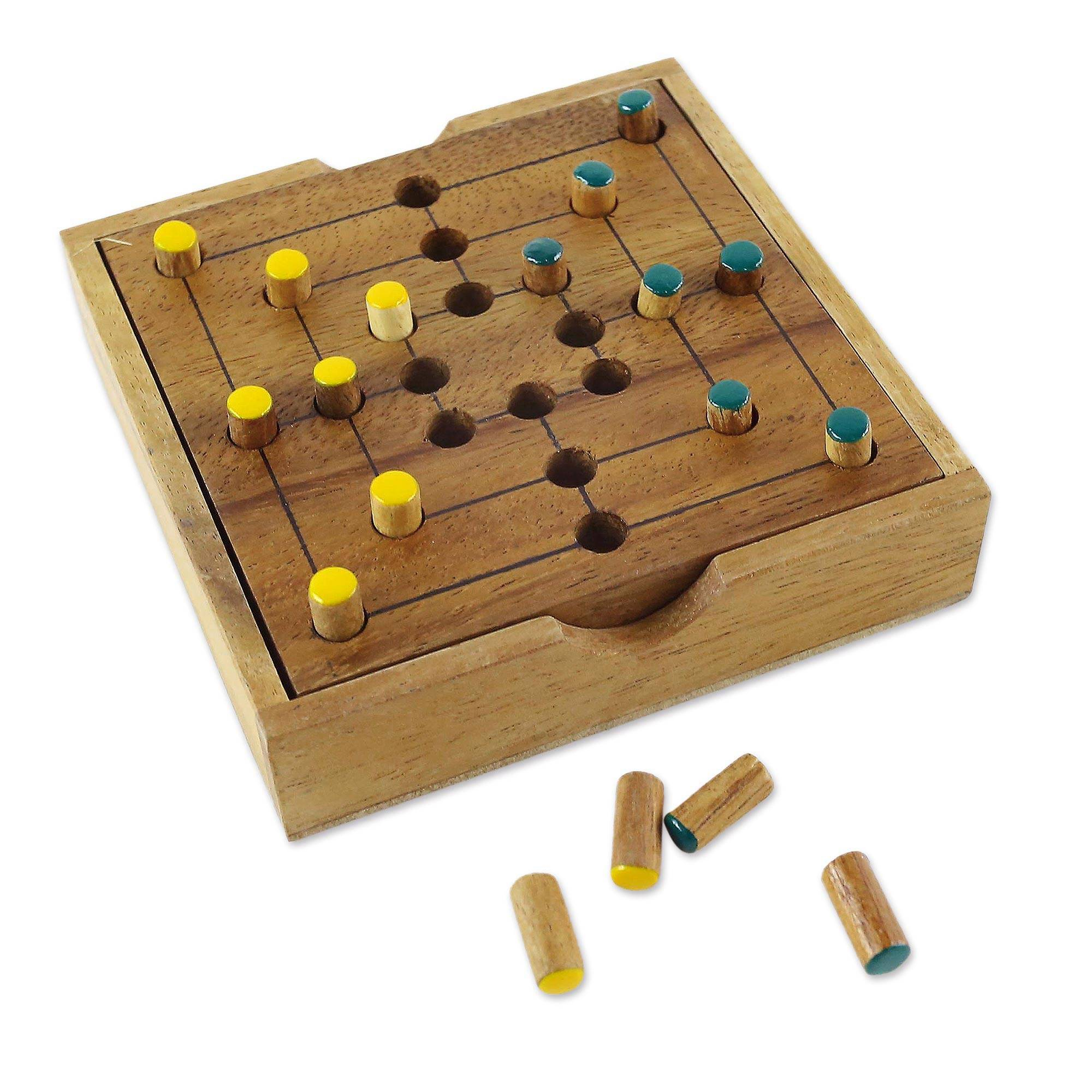 card game set wood handcrafted india full house place to call home box set Wood game, u0027Strategy Squareu0027 - Hand Made Wood Pegs Board Game from Thailand