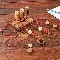 Wood puzzle, 'Gordian Gates' - Handmade Rain Tree and Rubber Wood Game from Thailand