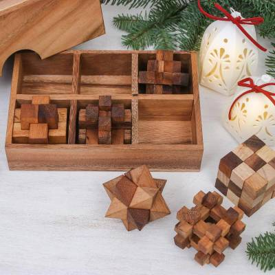Handcrafted Set Of Six Wooden Puzzles From Thailand Puzzle Set