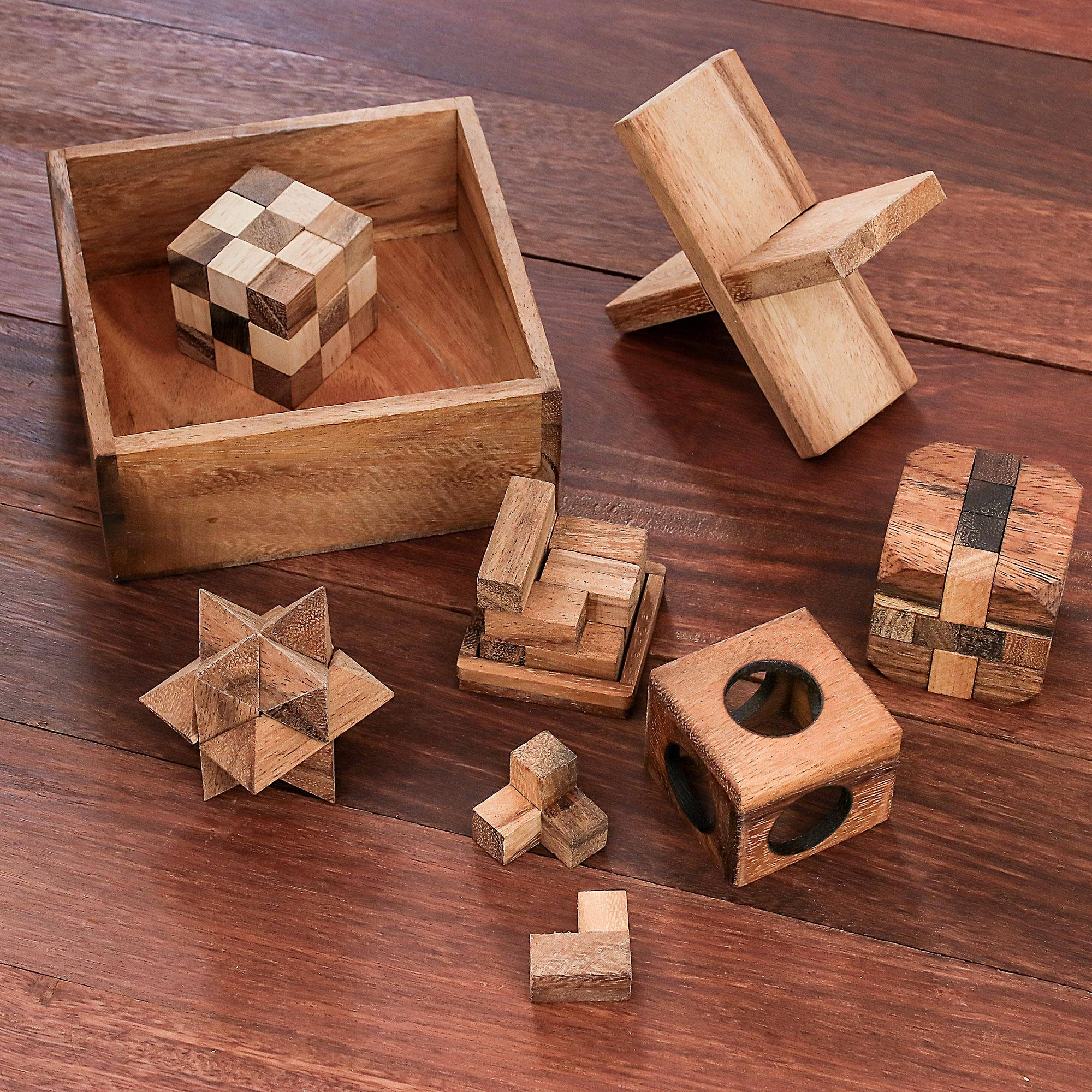Set Of Six NOVICA Brown Hand Crafted Raintree Wood Puzzle Game,Puzzles