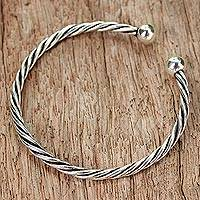 Sterling silver cuff bracelet, 'Braided Love' - Sterling Silver Cuff Bracelet Rope Motif from Thailand