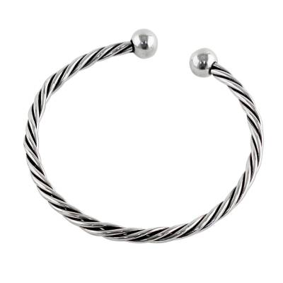 Sterling Silver Cuff Bracelet Rope Motif from Thailand