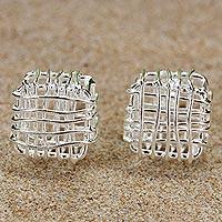Sterling silver stud earrings, 'Open Boxes' - Sterling Silver Openwork Stud Earrings from Thailand