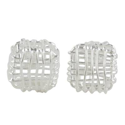 Sterling Silver Openwork Stud Earrings from Thailand