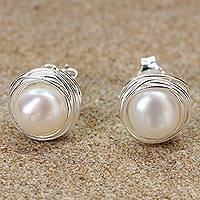 Cultured pearl stud earrings, 'Haloed Moons' - Cultured Pearl Sterling Silver Stud Earrings from Thailand