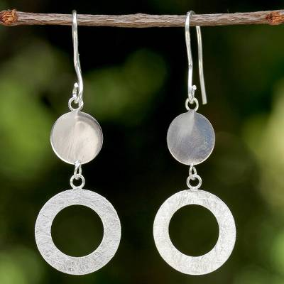 Sterling silver dangle earrings, 'Wafting Bubbles' - Circular Sterling Silver Dangle Earrings from Thailand