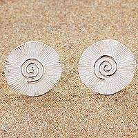 Sterling silver button earrings, 'Spring Spirals' - Spiral Motif Sterling Silver Button Earrings from Thailand