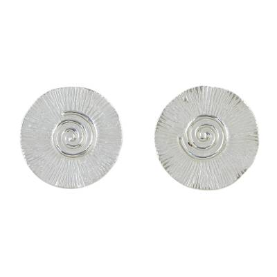 Spiral Motif Sterling Silver Button Earrings from Thailand