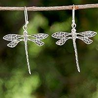 Sterling silver dangle earrings, 'Skyward Wanderers' - Dragonfly Sterling Silver Dangle Earrings from Thailand