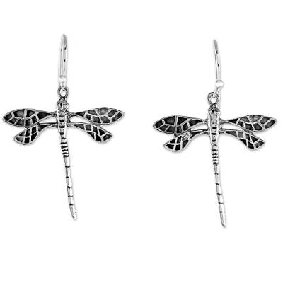 Dragonfly Sterling Silver Dangle Earrings from Thailand
