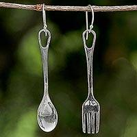 Sterling silver dangle earrings, 'Lunch Time' - Fork and Spoon Sterling Silver Dangle Earrings from Thailand