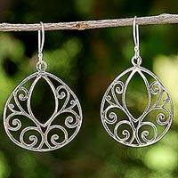 Sterling silver dangle earrings, 'Spiral Eyes' - Openwork Spiral Sterling Silver Dangle Earrings