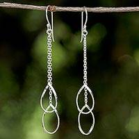 Sterling silver dangle earrings, 'Stirrups' - Silver Chain Dangle Earrings from Thailand