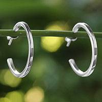 Sterling silver half hoop earrings, 'Glistening Halves' - Sterling Silver Half Hoop Earrings from Thailand