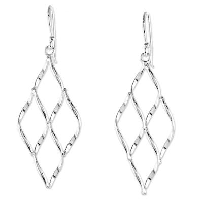 Diamond Shape Openwork Dangle Earrings from Thailand