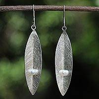 Cultured pearl dangle earrings, 'Beginning' - Thai Cultured Pearl and Sterling Silver Leaf Earrings