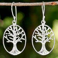 Sterling silver dangle earrings, 'Winter Trees' - Sterling Silver Tree Dangle Earrings from Thailand