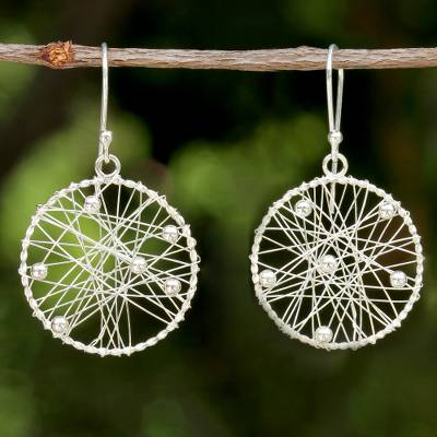 Sterling silver dangle earrings, 'Good Dream' - Sterling Silver Round Dangle Earrings from Thailand