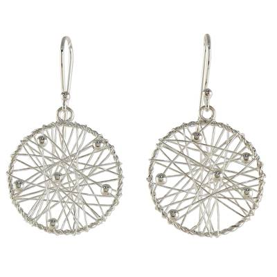 Sterling Silver Round Dangle Earrings from Thailand