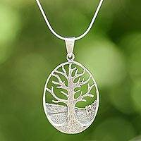 Sterling silver pendant necklace, 'Lone Tree' - Sterling Silver Tree Pendant Necklace from Thailand