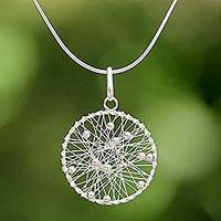 Sterling silver pendant necklace, 'Good Dream' - Sterling Silver Round Pendant Necklace from Thailand