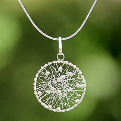 Necklaces silver jewellery - Sterling Silver Round Pendant Necklace from Thailand