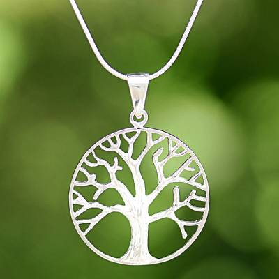 Sterling silver pendant necklace, 'December Tree' - Sterling Silver Tree Pendant Necklace from Thailand