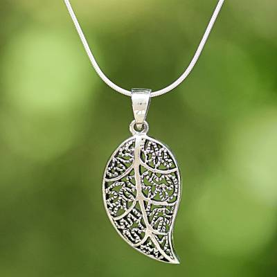 Sterling silver leaf pendant necklace from thailand charming leaf sterling silver pendant necklace charming leaf sterling silver leaf pendant necklace from mozeypictures Image collections