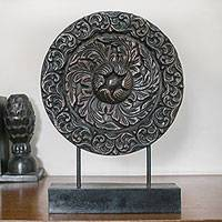 Wood sculpture, 'Heart of the Moon' - Hand Carved Floral Relief Wood Sculpture from Thailand
