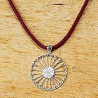 Sterling silver pendant necklace, 'Silver Sunflower' - Sterling Silver Flower Pendant Necklace with Red Cord