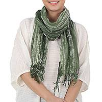 Batik tie-dyed cotton scarf, 'Speckled Field in Moss' - Batik Tie-Dyed Cotton Scarf in Moss Green from Thailand