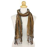 Batik tie-dyed cotton scarf, 'Speckled Field in Burnt Sienna' - Batik Tie-Dyed Cotton Scarf in Burnt Sienna from Thailand