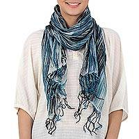 Batik tie-dyed cotton scarf, 'Speckled Field in Azure' - Batik Tie-Dyed Cotton Scarf in Azure from Thailand