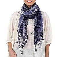 Batik tie-dyed cotton scarf, 'Speckled Field in Indigo' - Batik Tie-Dyed Cotton Scarf in Indigo from Thailand