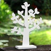 Wood jewelry tree, 'Bird Habitat in White'
