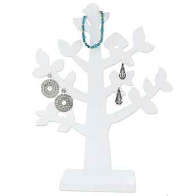 Wood jewelry tree, 'Bird Habitat in White' - Wood Jewelry Tree with Bird in White from Thailand