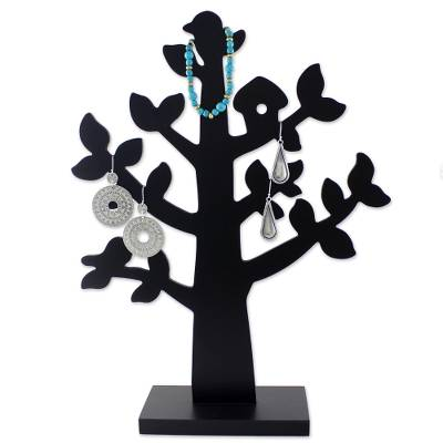 Wood jewelry tree, 'Bird Habitat in Black' - Wood Jewelry Tree with Bird in Black from Thailand