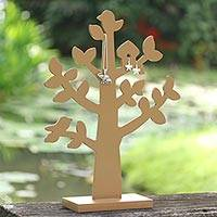 Wood jewelry tree, 'Bird Habitat in Tan'