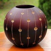 Mango wood decorative vase, 'Rainfall'