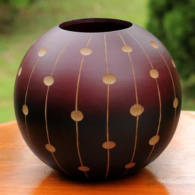 Mango wood decorative vase, 'Rainfall' - Thai Decorative Mango Wood Vase with Rainfall Pattern