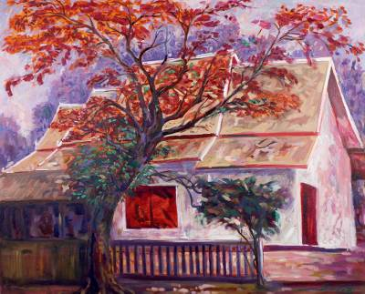 'Wat Ram Poeng' (2016) - Signed Stretched Impressionist Painting of House and Tree