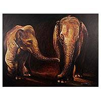 'Let's Play' (2016) - Signed Stretched Impressionist Painting of Two Elephants