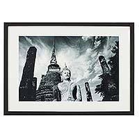 'Abiding Peace' (Wat Sa Si, Sukhothai) - Black and White Framed Photograph of Sukhothai Style Buddha