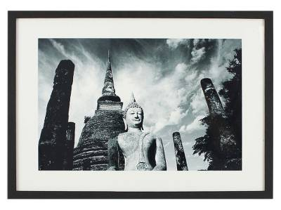 Black and White Framed Photograph of Sukhothai Style Buddha